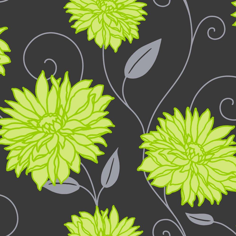 Erismann Amazon Wallpaper Lime Green / Grey / Black | Walls with