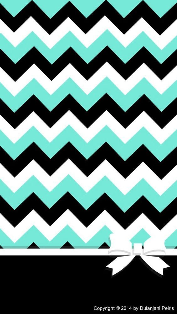 teal, black, white chevron with a bow! | chevron | Pinterest