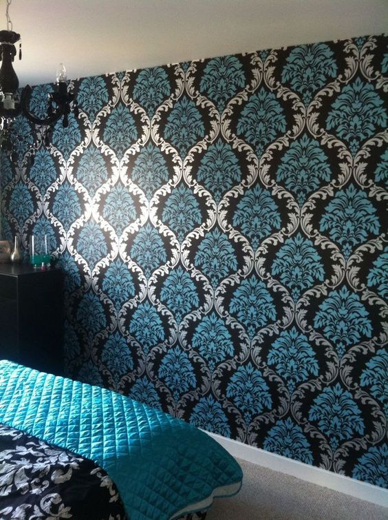 Designer Damask Aqua blue Teal Silver Black Wallpaper feature wall