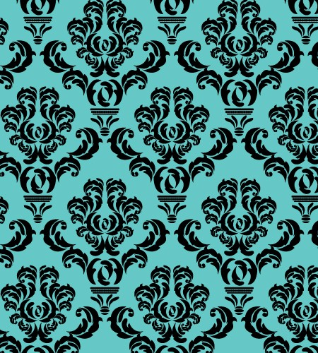 Baroque All Over Black on Teal | BC Magic Wallpaper