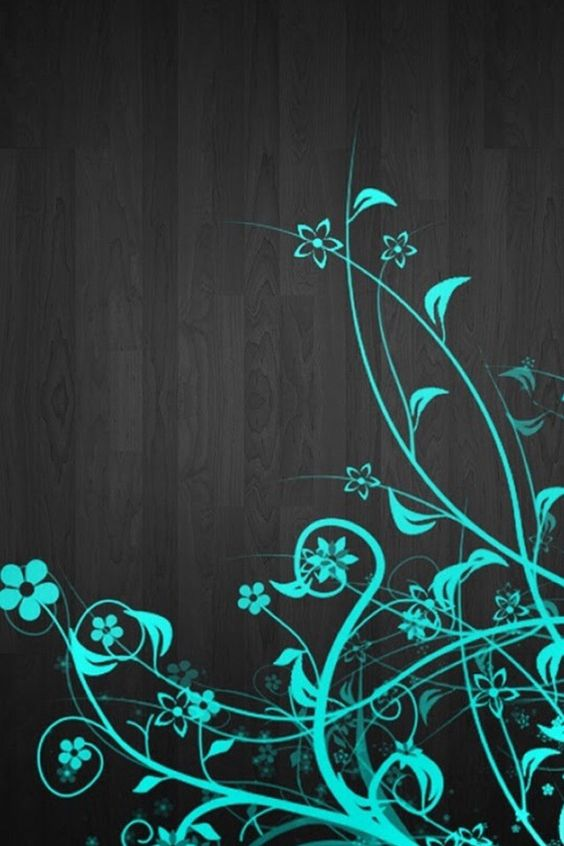 Turquoise flowers on black boards wallpaper | FLOWERY JUNK