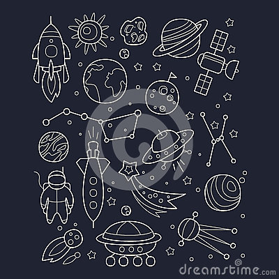 Space And Cosmic Objects Black White Wallpaper Stock Vector