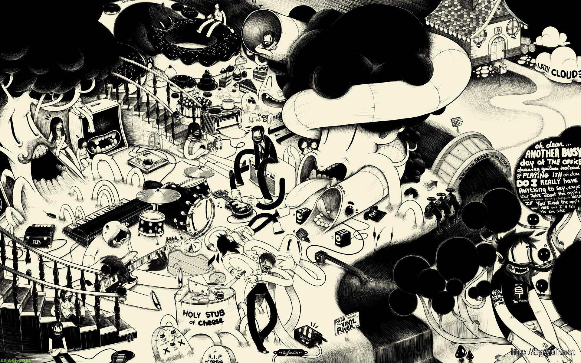 Black And White Cartoon Art Wallpaper – Background Wallpaper HD