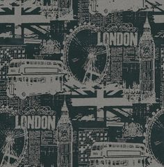 London wallpaper for my London themed living room love it x | home