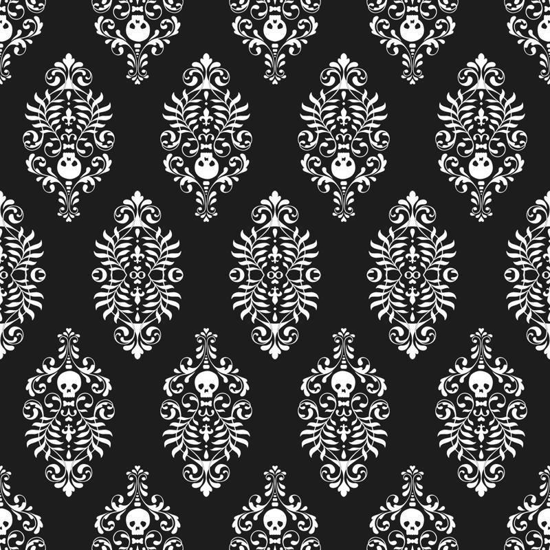Skull Damask - white on black wallpaper - edenki - Spoonflower