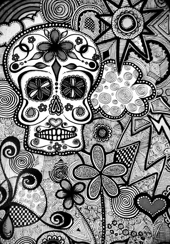 black and white candy skull wallpaper ©KC :) | Art Journaling