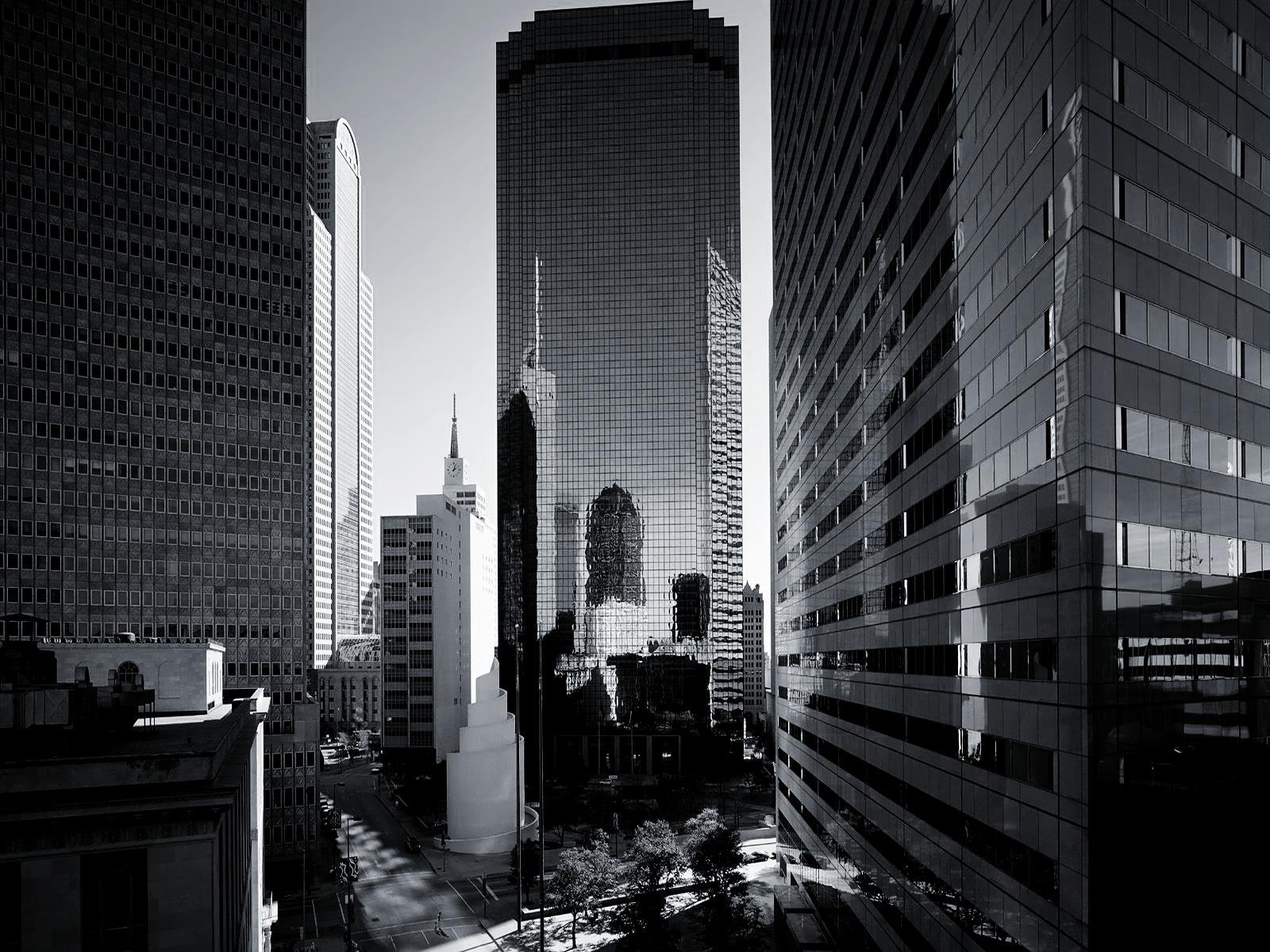 Houston Skyline Black And White - wallpaper