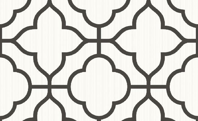 Ogee Black and White Wallpaper