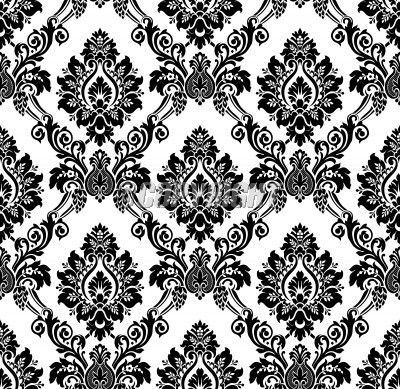 Vintage Black and White |     of Vector  Seamless damask pattern