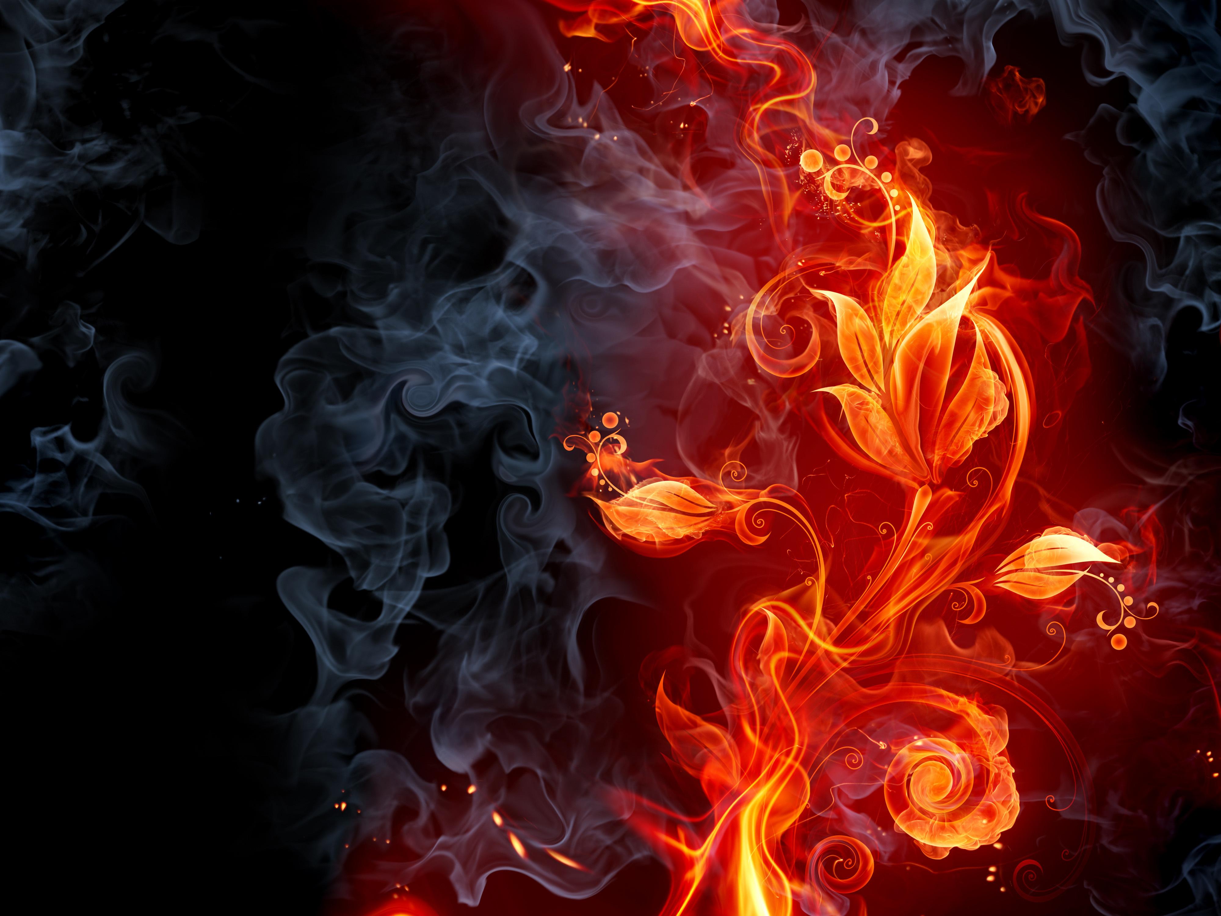 Black Fire Smoke - wallpaper