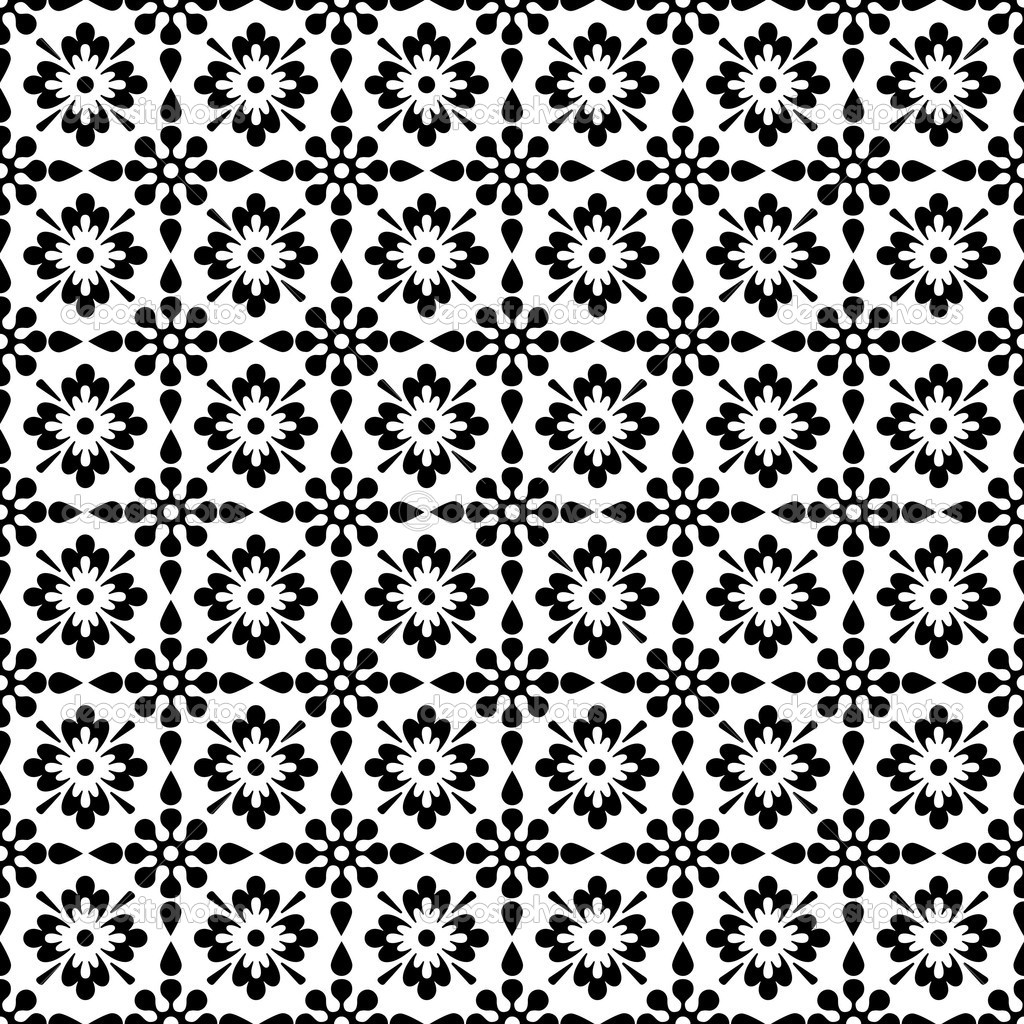 Seamless Black & White Floral Background Wallpaper — Stock Photo