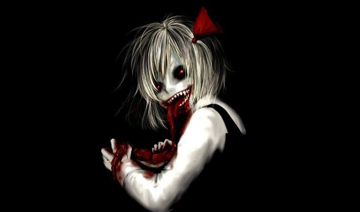 Dark horror anime macabre blood guts evil girl wallpaper