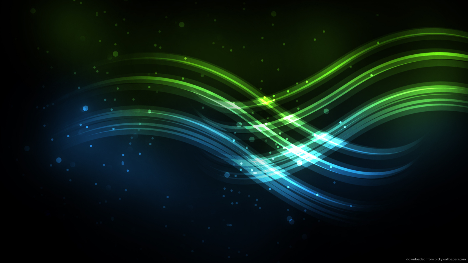 Download 1600x900 Blue And Green Waves Wallpaper