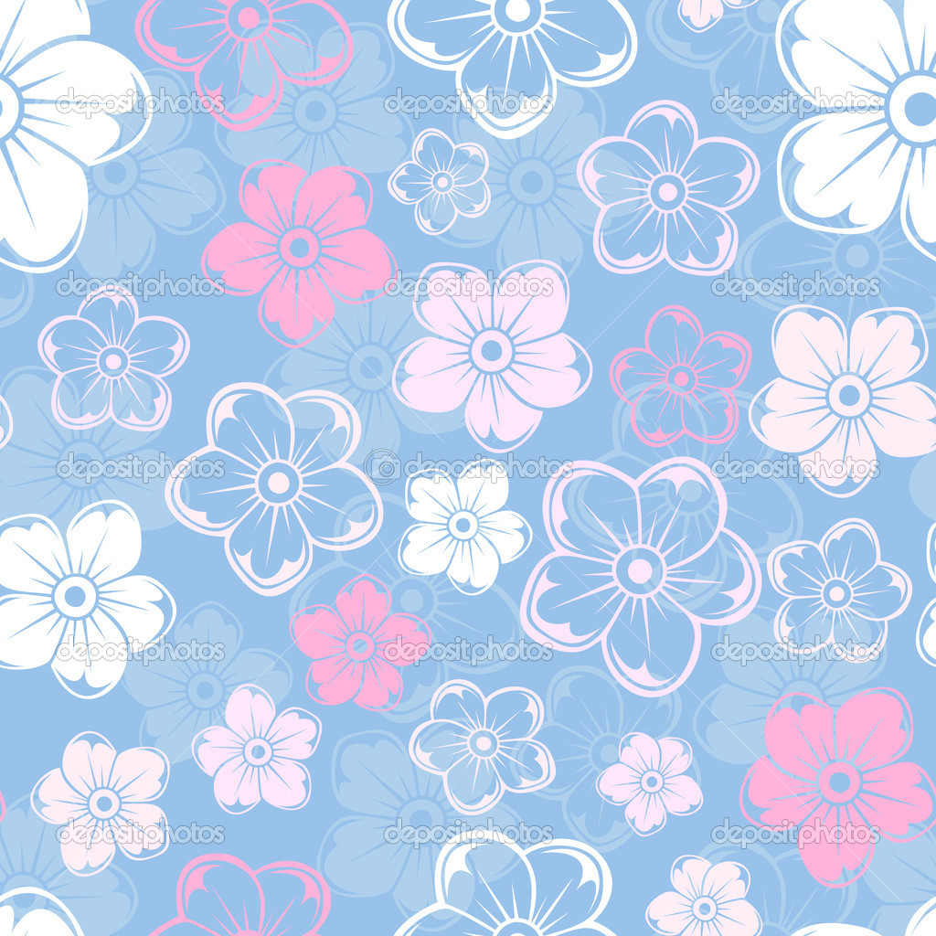 Elegance Light Blue Vector Flowers Illustration White Floral