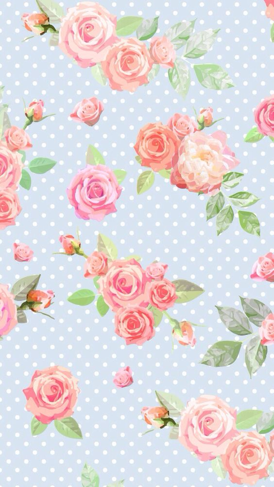 Blue and pink flower wallpaper sf wallpaper blue vintage floral dots iphone phone wallpaper background mightylinksfo