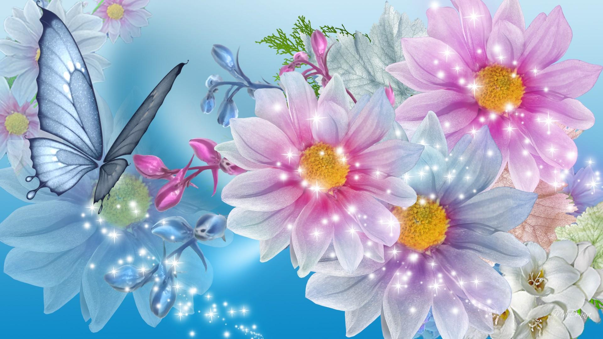 Blue And Pink Flower Wallpaper
