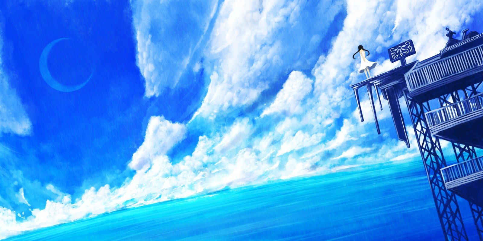 Blue Anime Scenery Wallpaper | 1600x800 | ID:56172