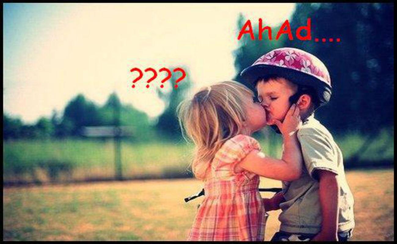 Little Girl Boy Lips Kissing Wallpaper - DreamLoveWallpapers