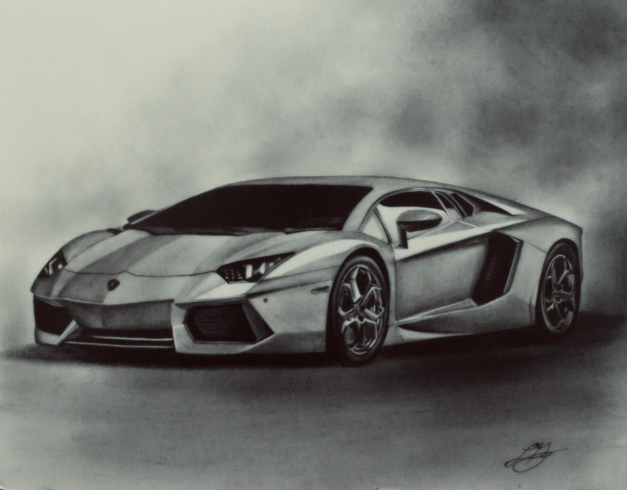 Car drawings in pencil - SF Wallpaper