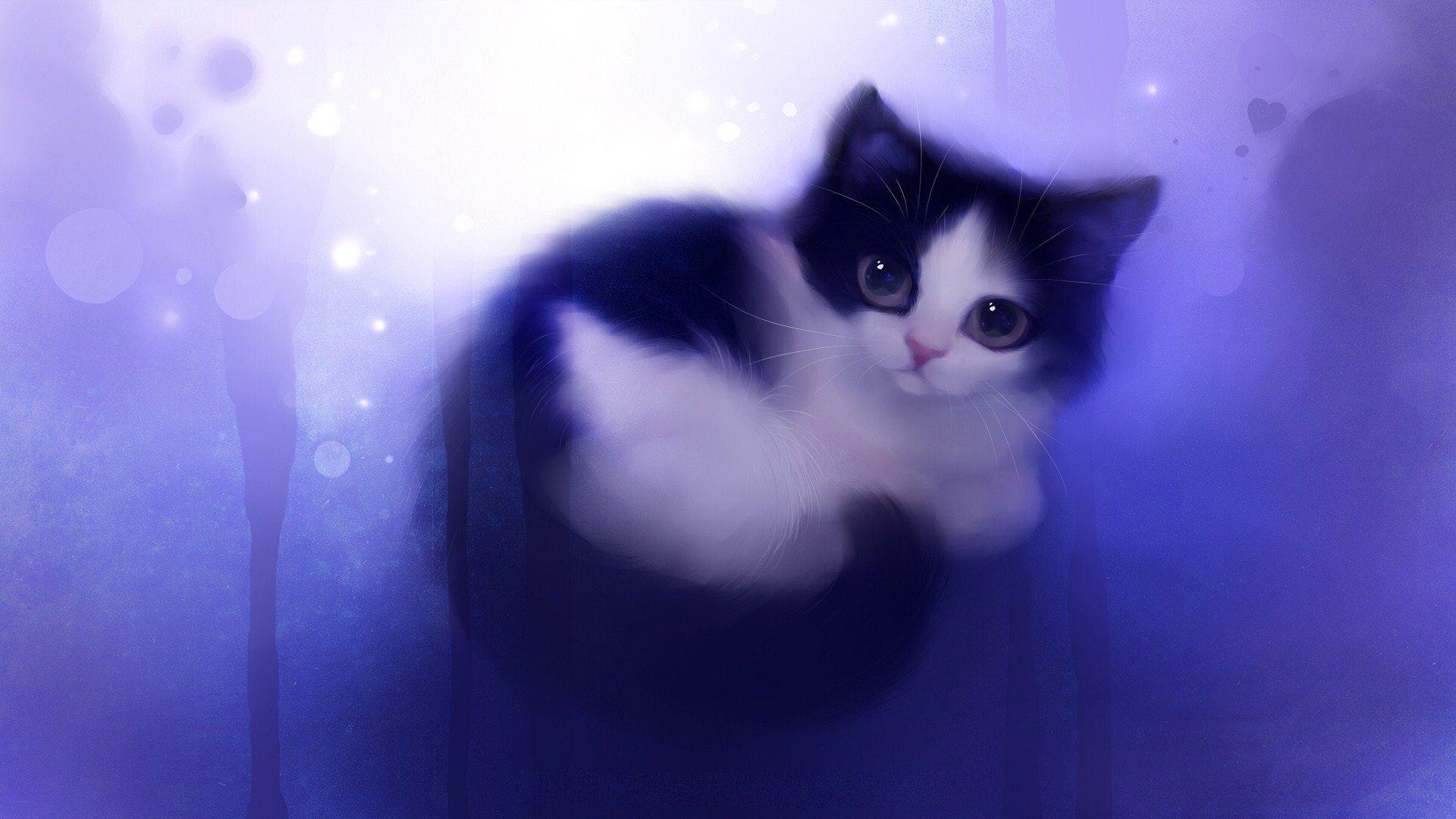 Cute Black Cat Painting Wallpaper