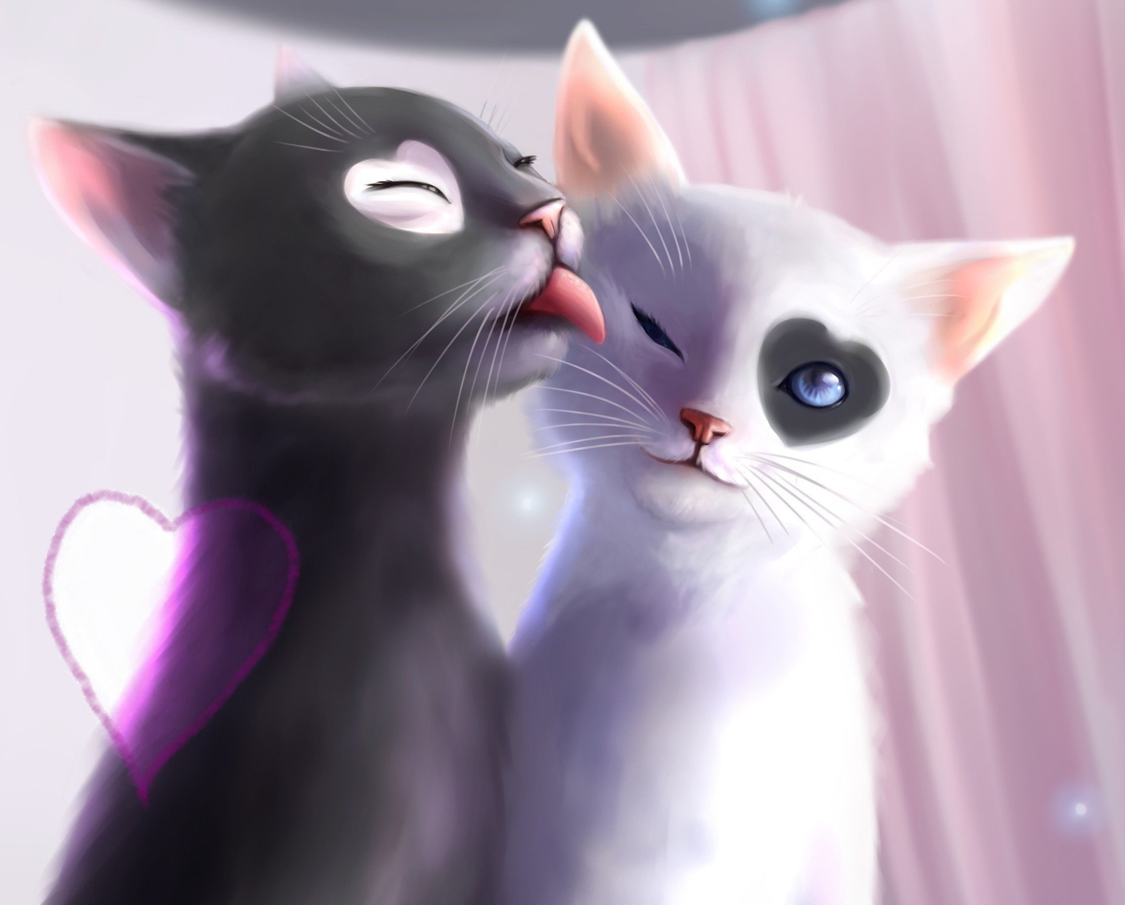 Heart cat love Art language cute wallpaper | 2239x1803 | 502033