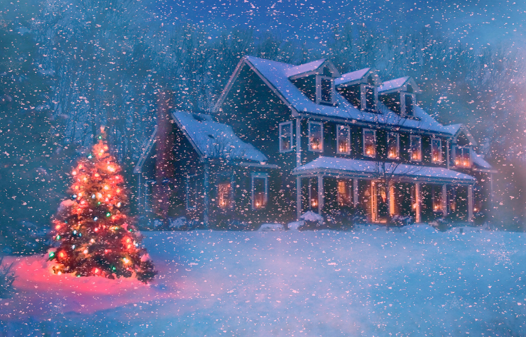 Christmas House in Winter Snowstorm Computer Wallpapers, Desktop