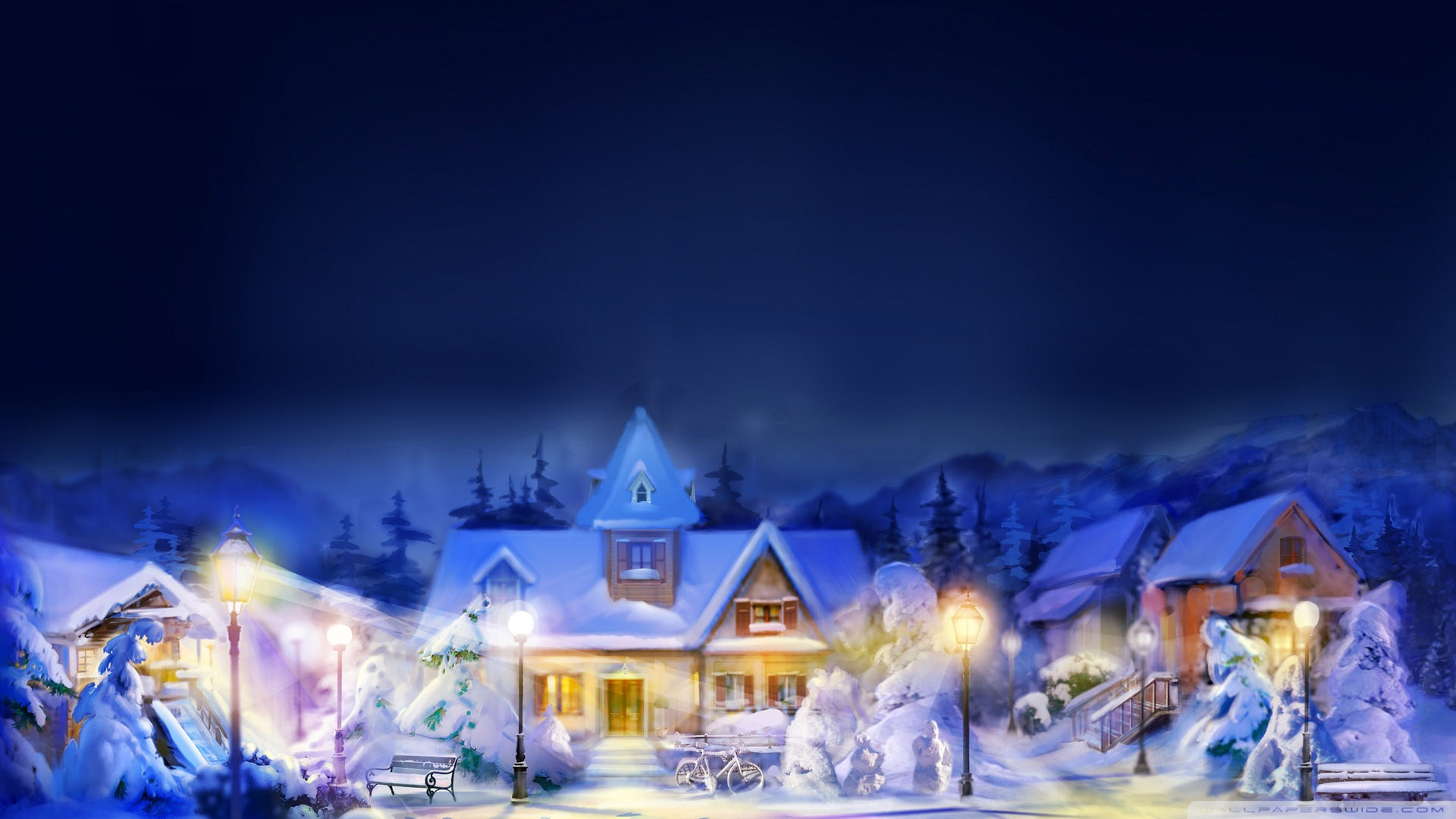 christmas town scene hd desktop wallpaper widescreen high src