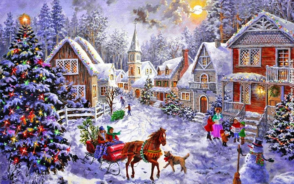 christmas village wallpaper - Animated Christmas Village