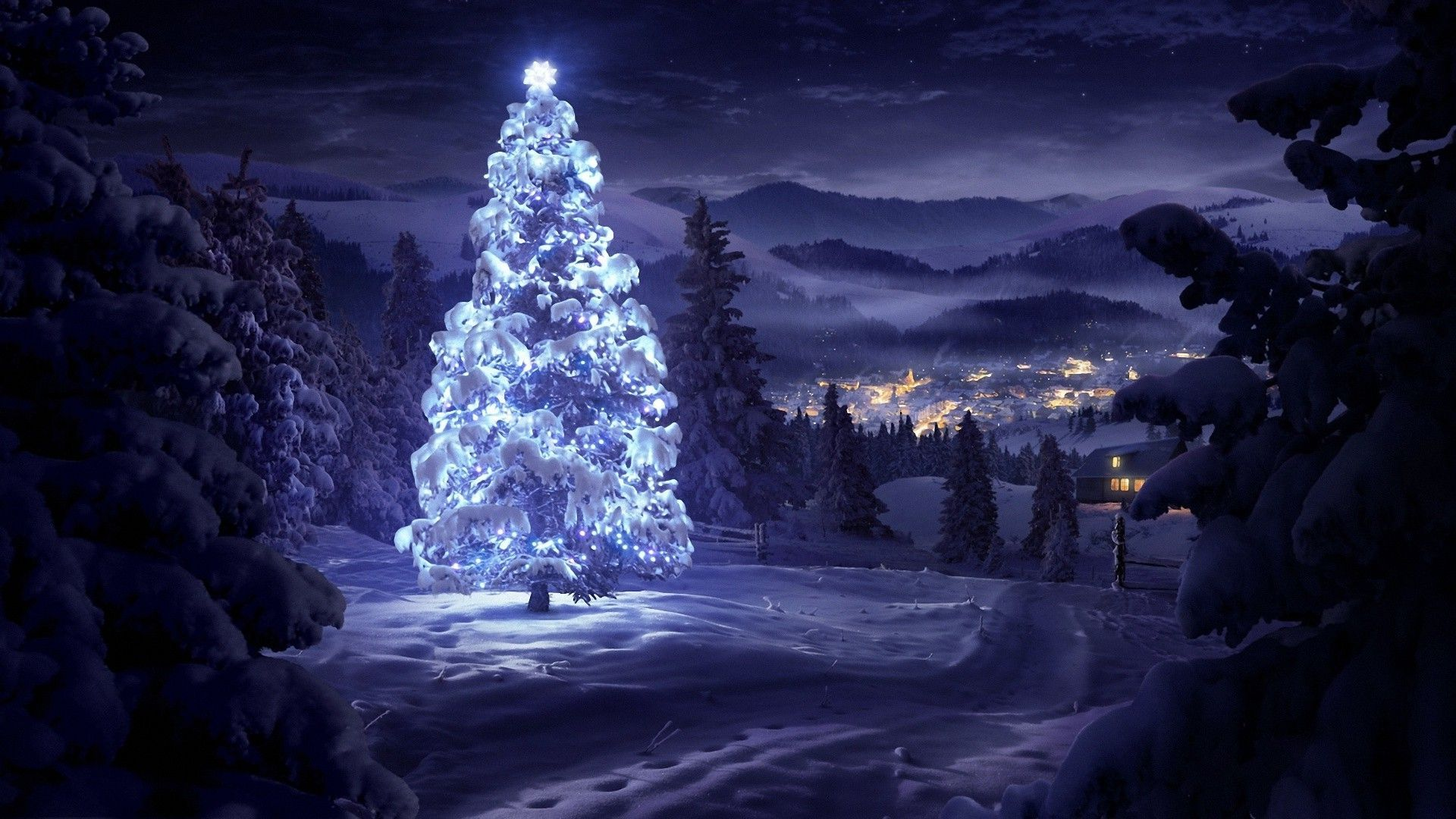 christmas tree snow wallpaper - sf wallpaper