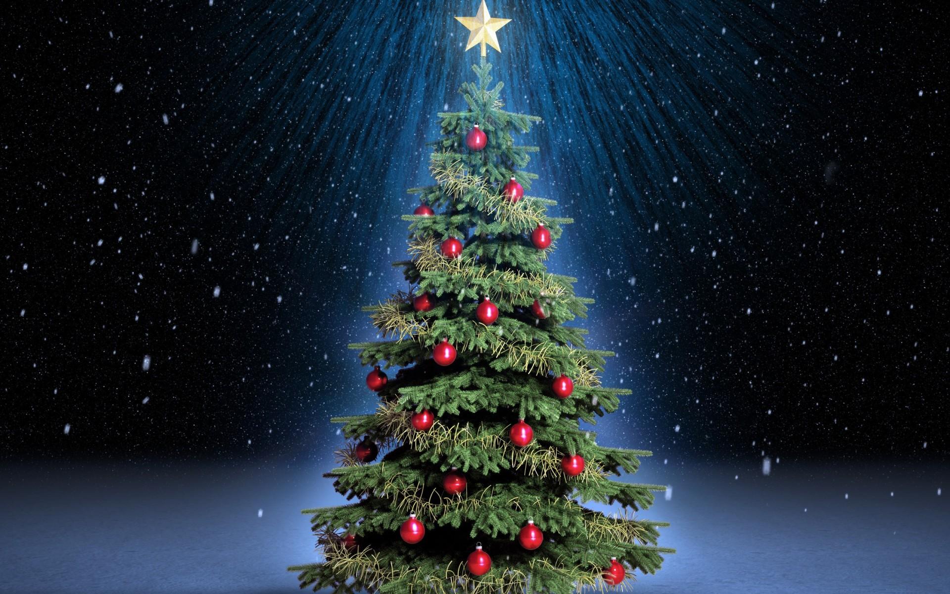 Christmas Tree, Star, Red Balls, Light, Snow widescreen wallpaper