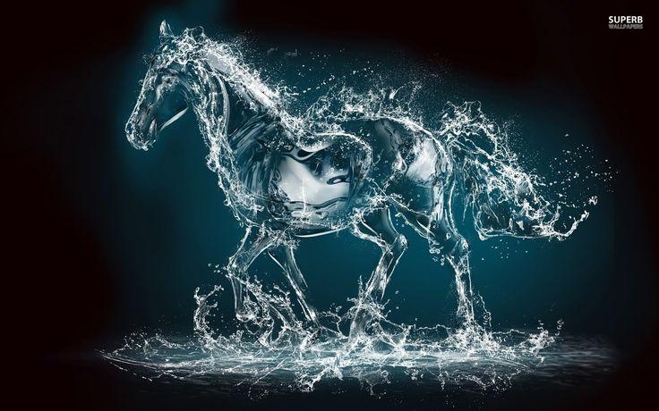 horses digital art | Dark Horses Digital Art Water Horse HD