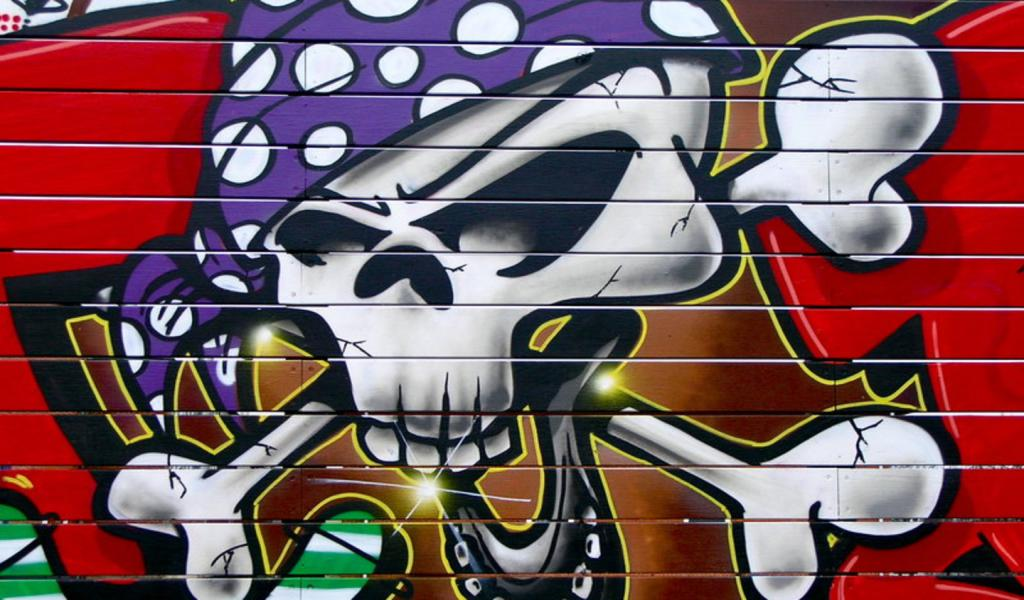 Download Cool Skull Graffiti Wallpaper 1024x600 | Full HD Wallpapers