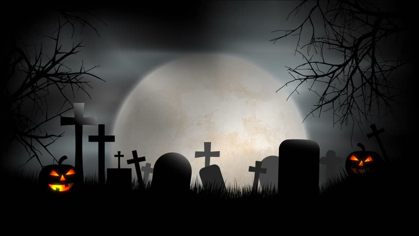 A Creepy Graveyard Halloween Background Scene With Graves, Evil
