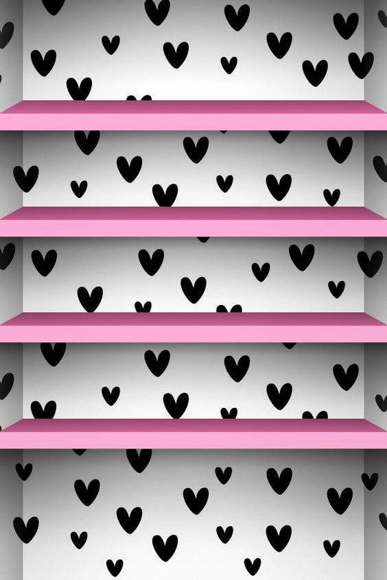 Cute black & white background with pink shelves | Cute Phone