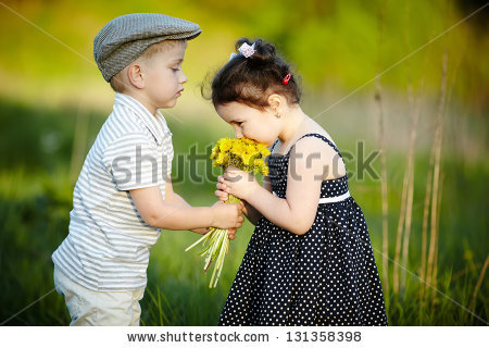 Cute Boy Girl On Summer Field Stock Photo 131358398 - Shutterstock
