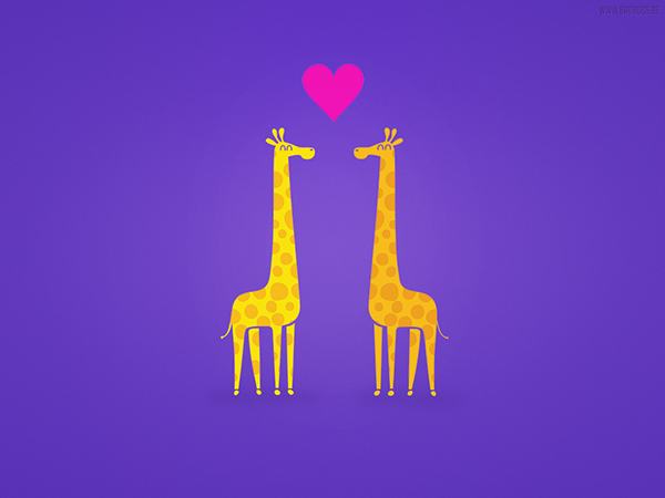 Free Wallpaper Cute cartoon giraffe couple in Love on Behance