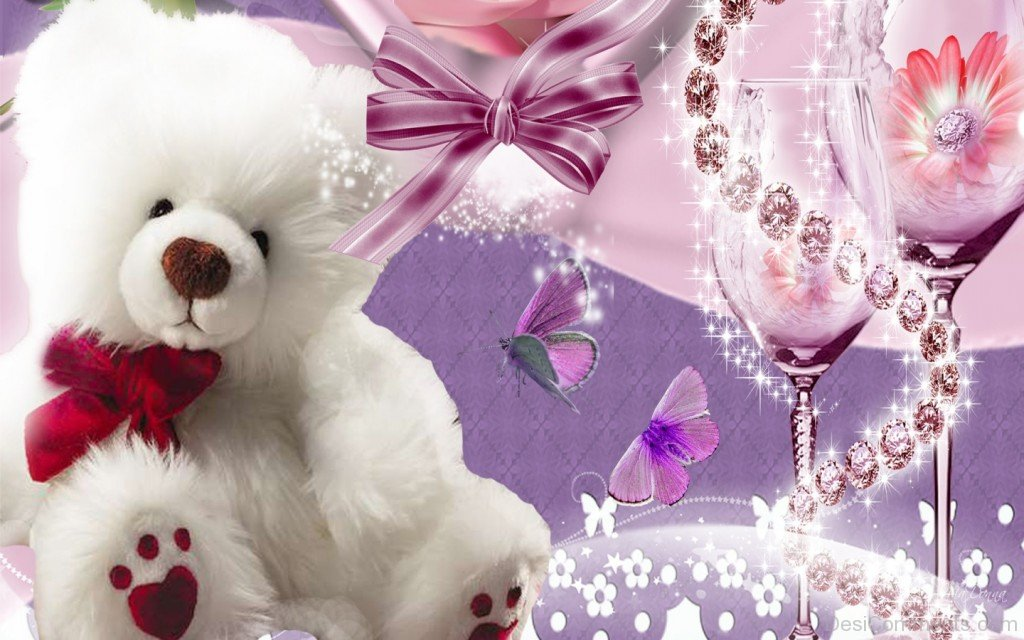 Cute Teddy Bear White - DesiComments com