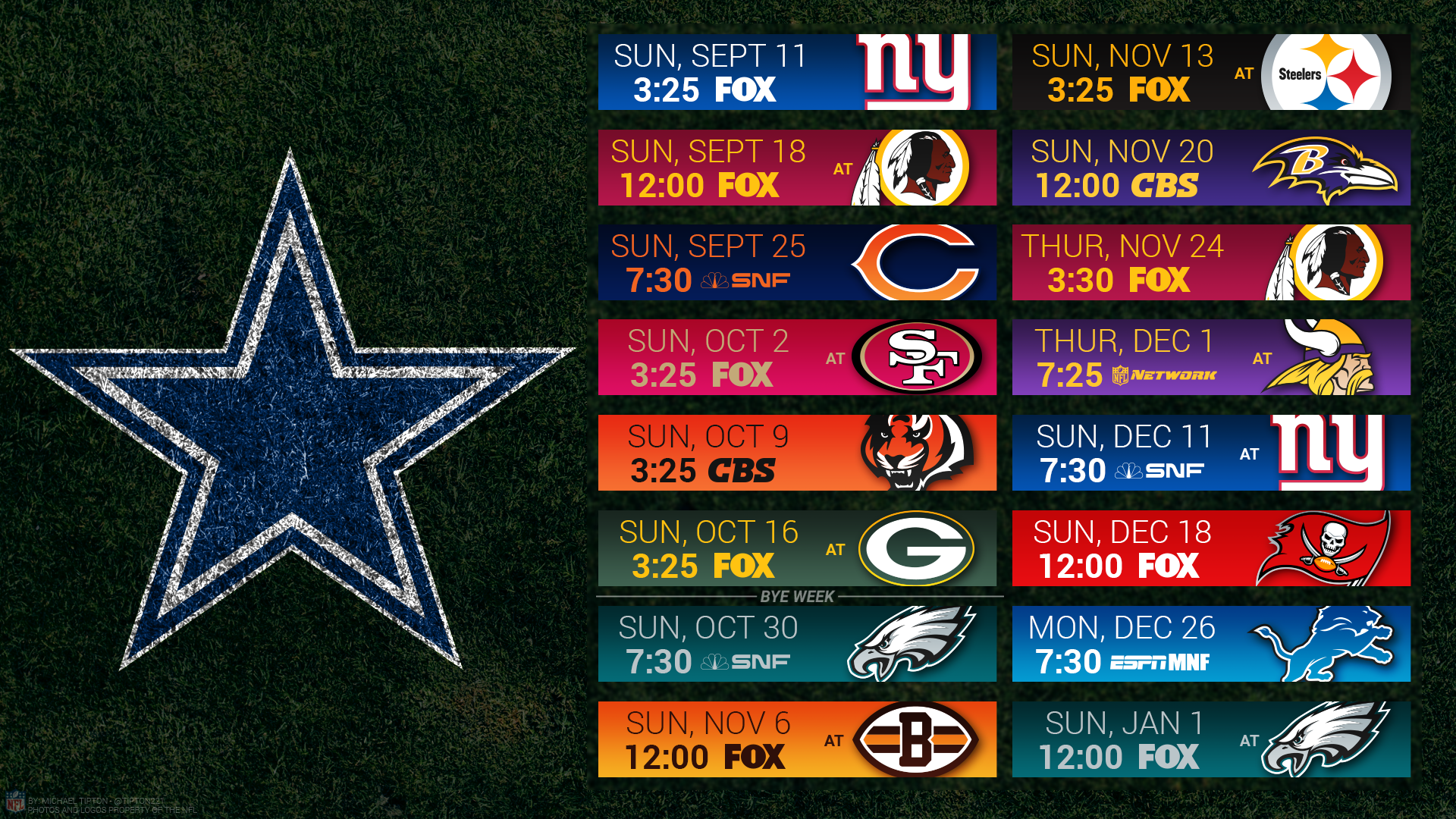 Dallas Cowboys 2017 HD 4k Schedule Wallpaper