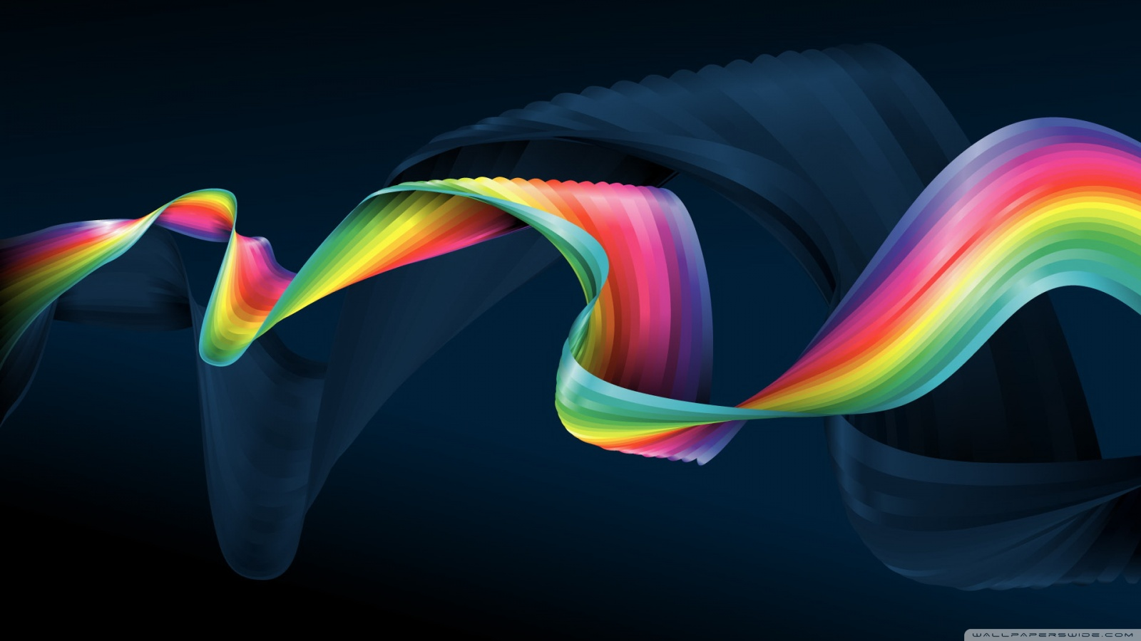 Rainbow Colors Dark Blue HD desktop wallpaper : Widescreen : High