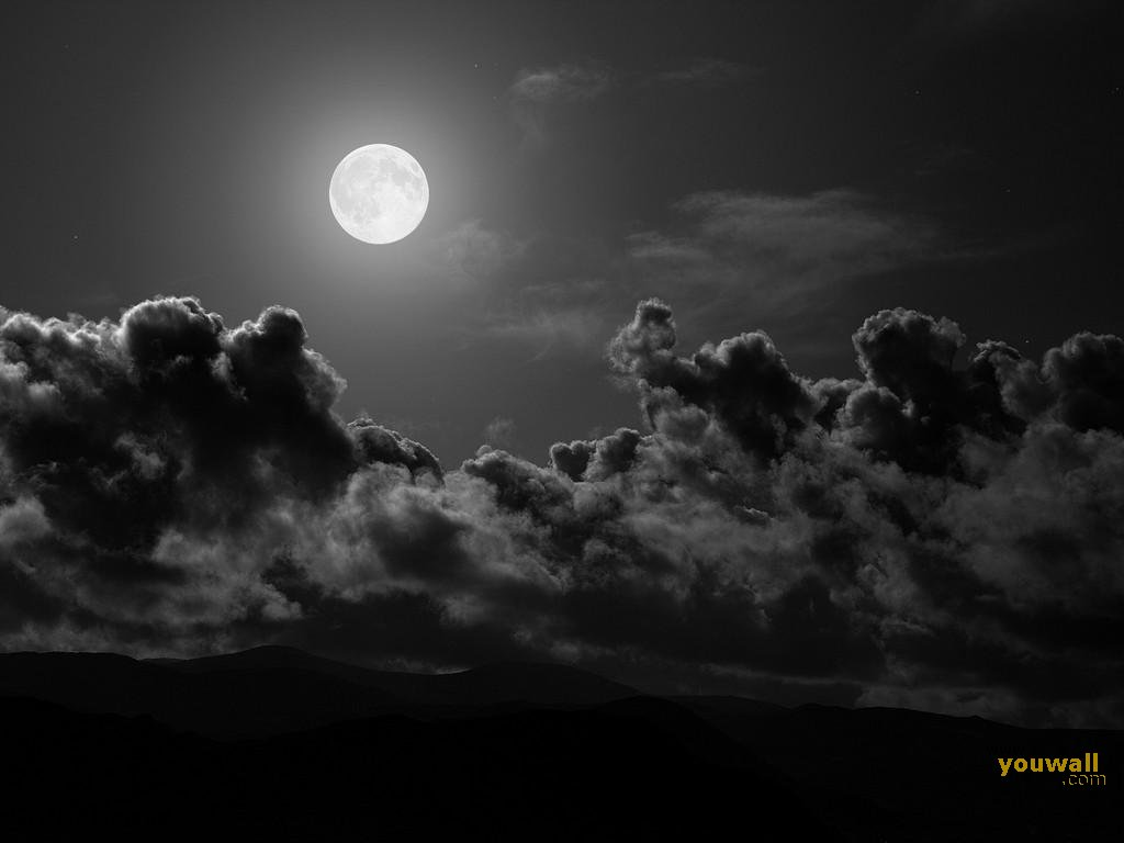 YouWall - Dark Clouds and The Moon Wallpaper - wallpaper