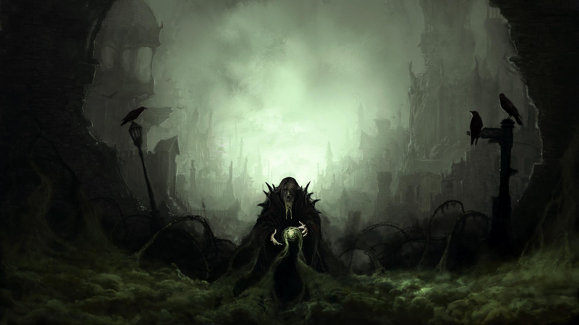 dark art |     Madoushi anime dark horror fantasy magic evil art