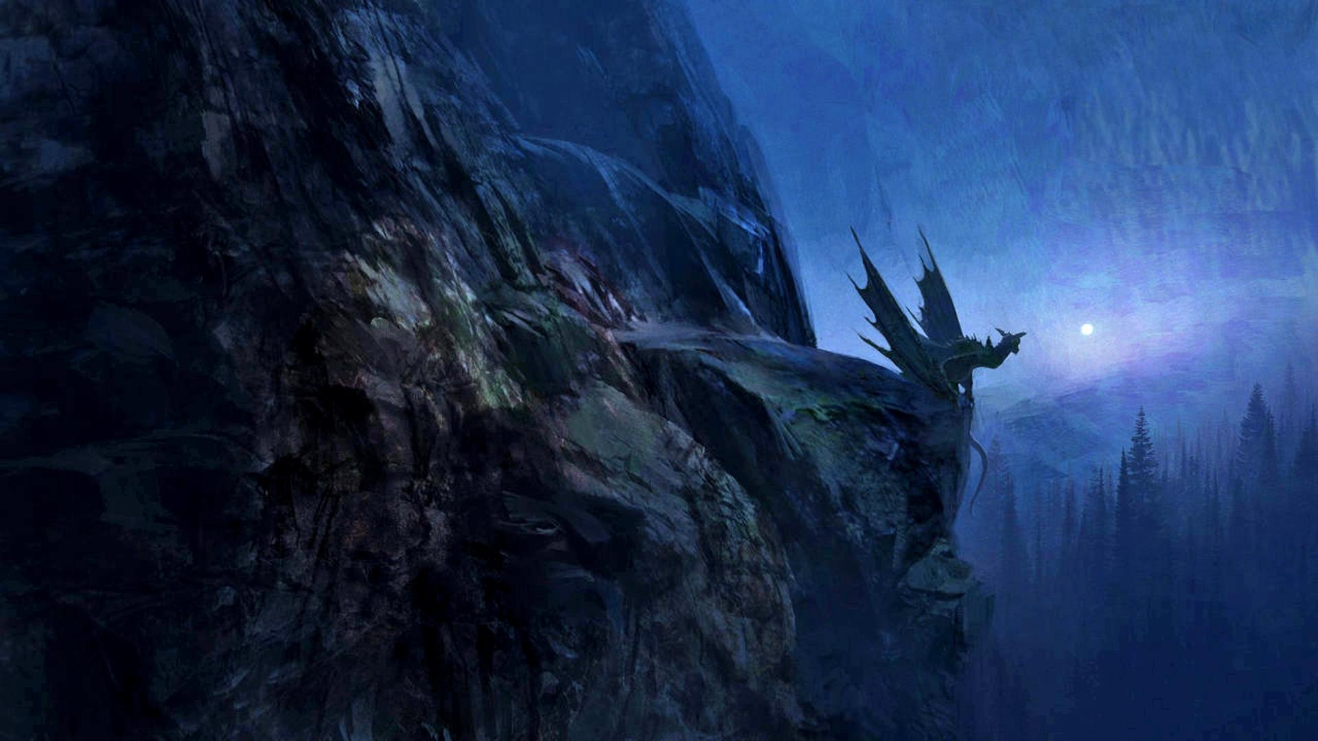 dark, magic, fantasy, dragon, landscape :: Wallpapers