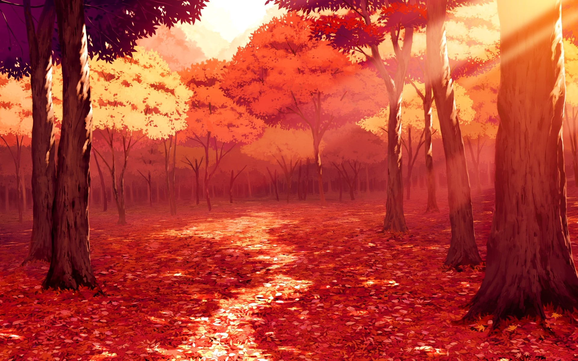 Anime autumn scenery Wallpapers | Pictures