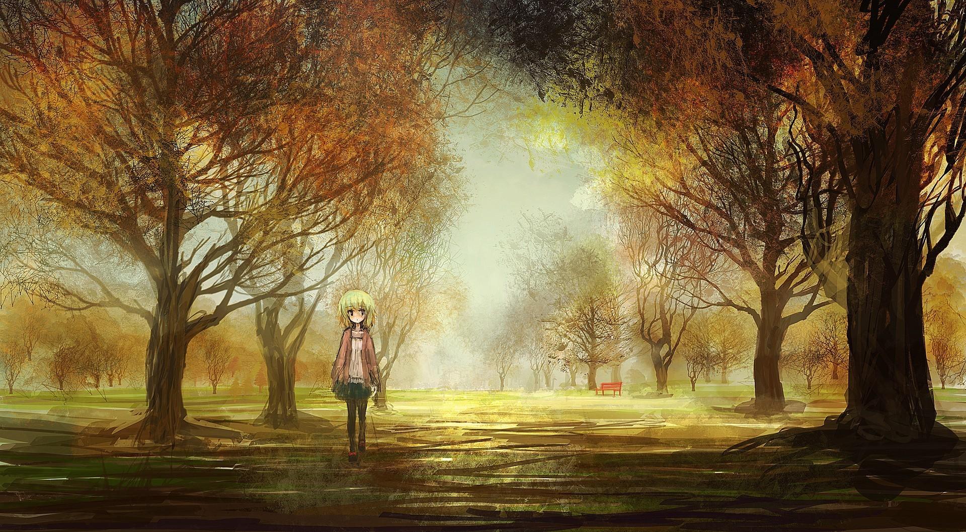 Original art girl landscapes anime trees park autumn fall