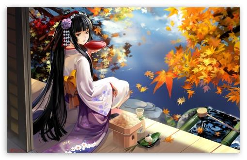 Autumn Anime Scenery HD desktop wallpaper : Widescreen : Fullscreen