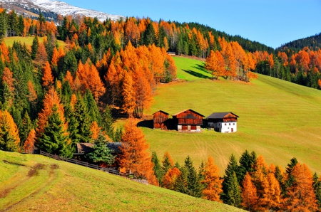 Mountain houses in autumn - Mountains & Nature Background