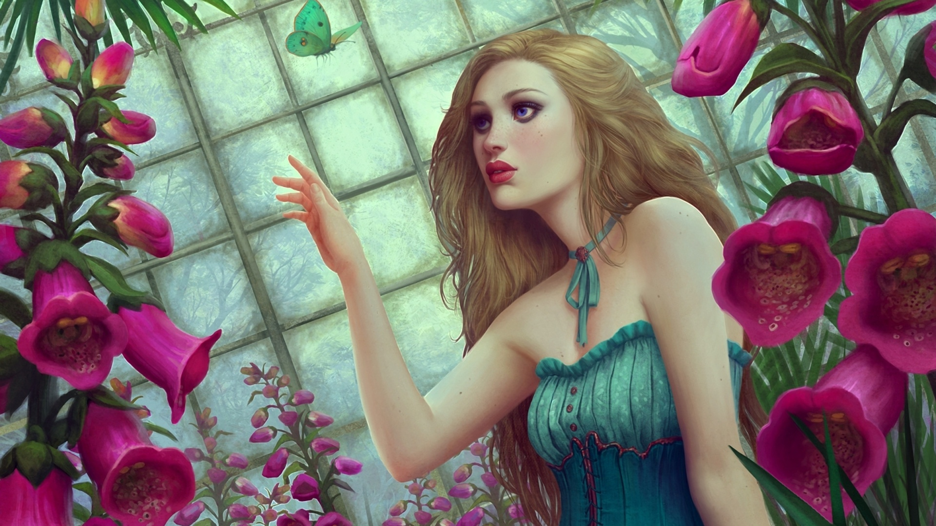 Download Fantasy Girl Butterfly Flowers Wallpaper | Full HD Wallpapers