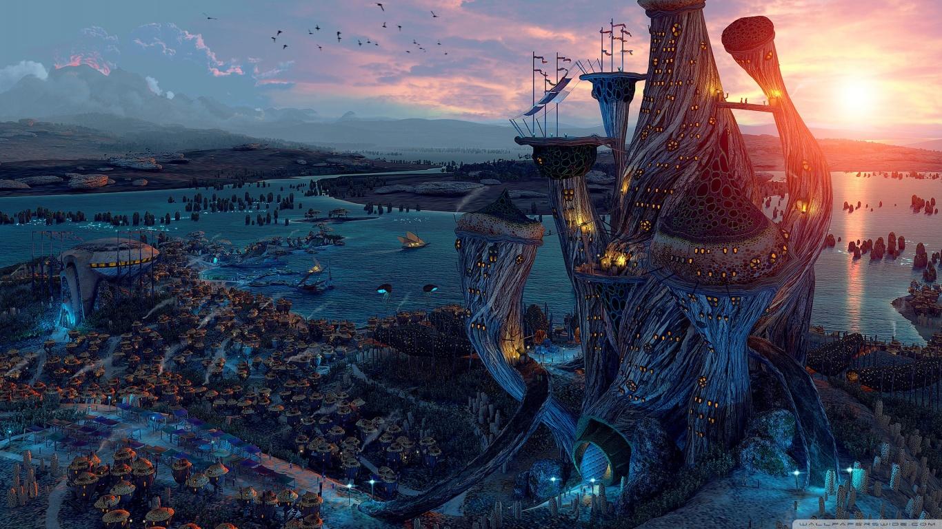 Fantasy World Art HD desktop wallpaper : Widescreen : High