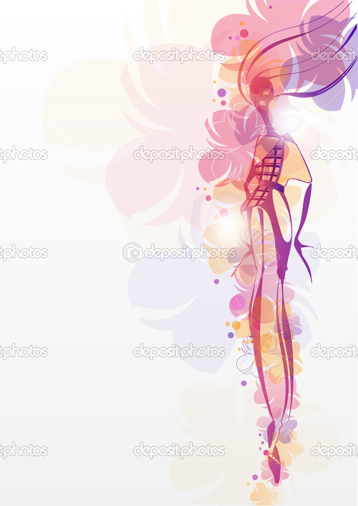 Girl with flowers  Fashion background — Stock Vector © NaPev #11119218