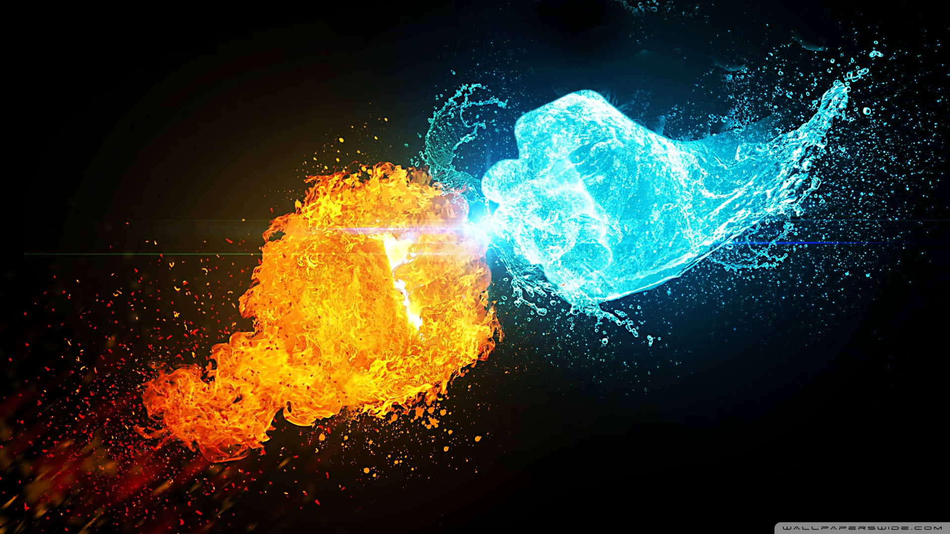 Fire Vs Ice HD Desktop Wallpaper Widescreen High Definition Src
